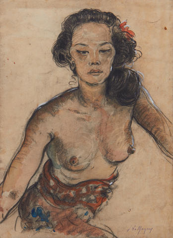 Adrien Jean Le Mayeur de Merprés (Belgian, 1880-1958) Portrait of a girl wearing a sarong and with a flower in her hair: verso girls by a pool with parrots