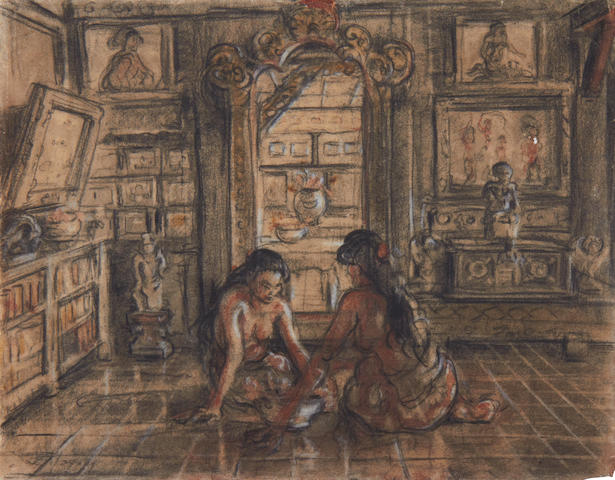 Adrien Jean Le Mayeur de Merprés (Belgian, 1880-1958) Interior scene with 2 girls; verso chalk drawing of a girl