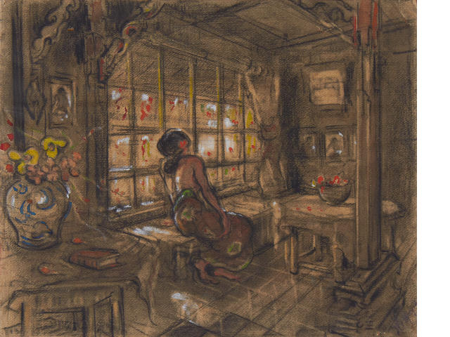 Adrien Jean Le Mayeur de Merprés (Belgian, 1880-1958) Interior study of  agirl looking out of a window; painted verso