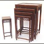 A nest of four hardwood tables Early 20th century