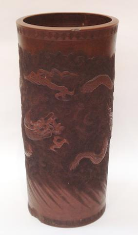 A large red earthenware floor vase 19th century