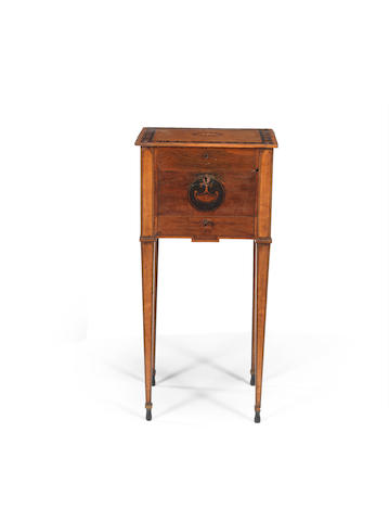 A George III sycamore (?), satinwood, tulipwood crossbanded, ebony and marquetry side table in the manner of Mayhew and Ince