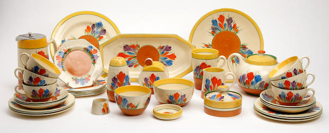 A large collection of Clarice Cliff 'Crocus' pattern teawares Circa 1930