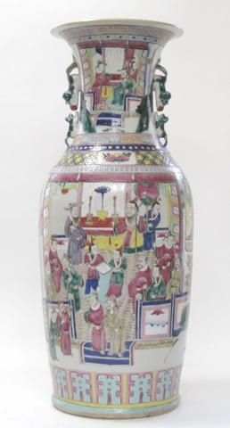 A Canton export famille rose baluster vase Late 19th/early 20th century