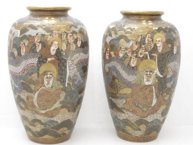 A Satsuma pottery garniture   Circa 1900
