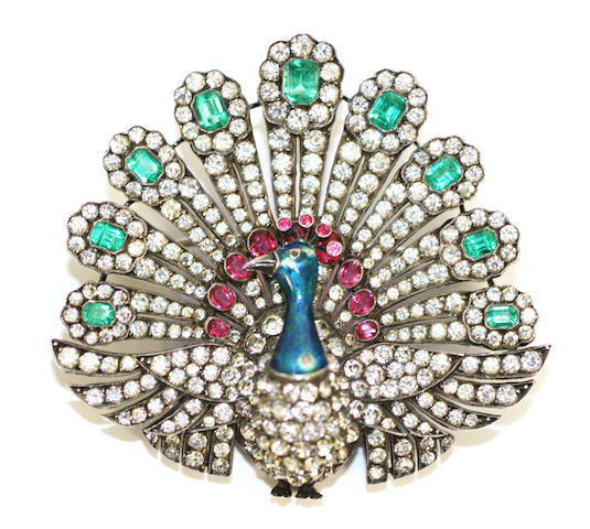 A paste and enamel set peacock brooch