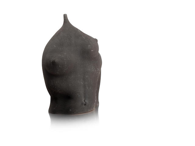 A clay sculpture of a torso by David Cohen 1987