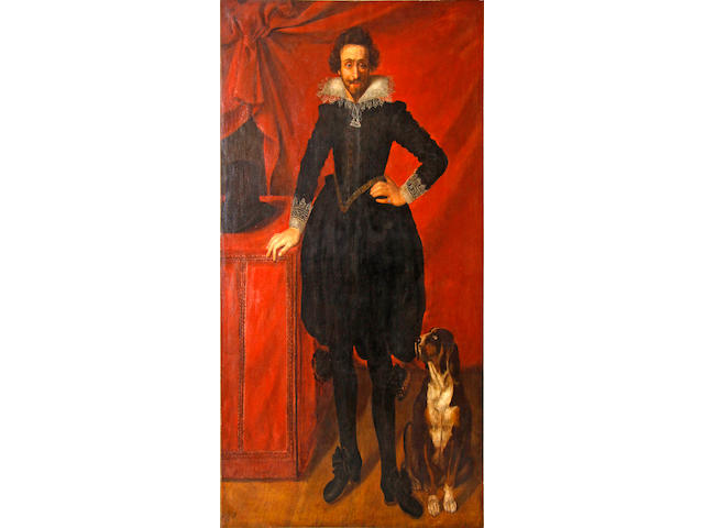 After Frans Pourbus the Younger, 19th Century Portrait of Claude Lorraine, Duc de Chevreuse, standing with a hound seated beside him