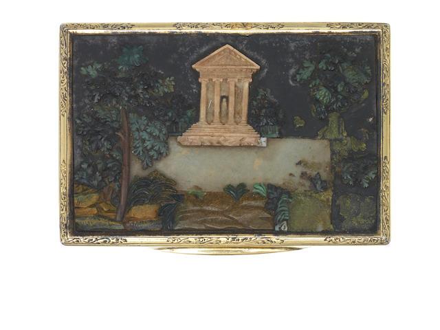 An Italian silver-gilt and pietra dura-mounted snuff box Rome, circa 1830
