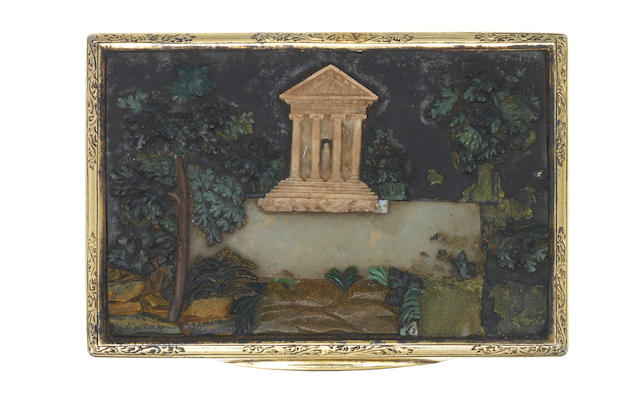 An Italian silver-gilt and pietra dura-mounted snuff box Rome, circa 1830