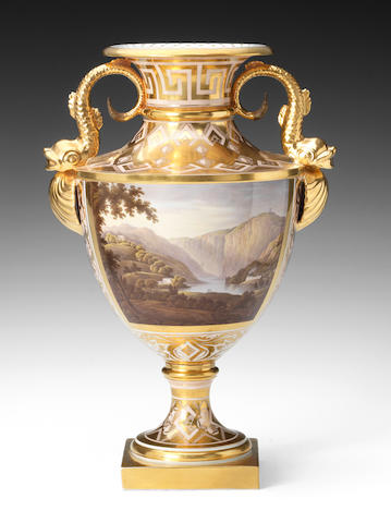A good Barr Flight and Barr vase, painted landscape and richly gilded ground