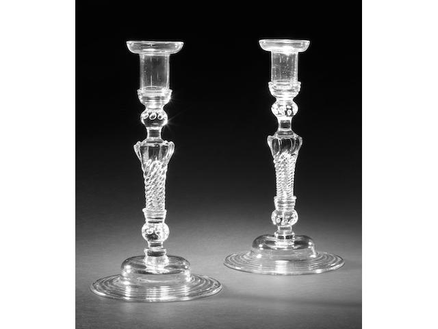 A very fine pair of baluster candlesticks, circa 1725-35