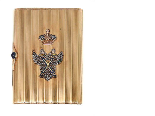 A Russian 14 carat gold and enamelled cigarette case possibly by Leiba Lowser or Leiser Levi, St. Petersburg, with 1908-1926 Kokoshnic