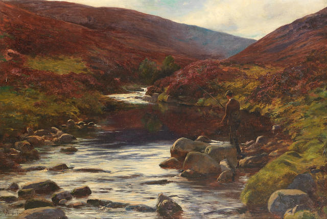 Joseph Farquharson, RA (British, 1846-1935) Fishing by the stream 50.8 x 76.2 cm. (20 x 30 in.)