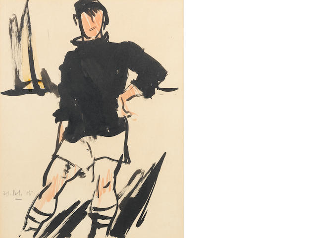 Francis Campbell Boileau Cadell, RSA RSW (British, 1883-1937) The Footballer 33 x 25.5 cm. (13 x 10 in.)