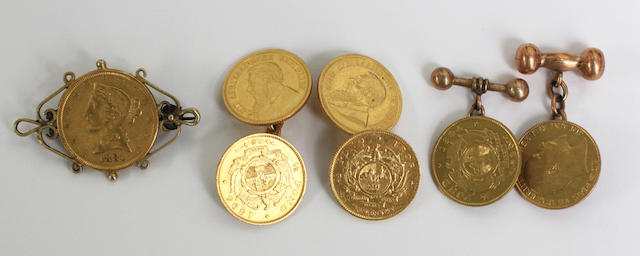 A pair of gold coin cufflinks,