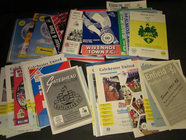 A collection of 1991 to 1993 Colchester United football programmes (2 seasons out of football league)