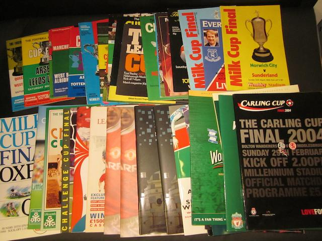 A collection of League Cup final programmes 1967 onwards