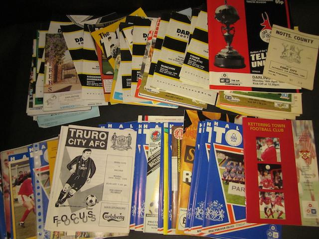 A collection of 1993/94 Halifax Town and 1989/90 Darlington F.C. football programmes (first seasons out of football league)