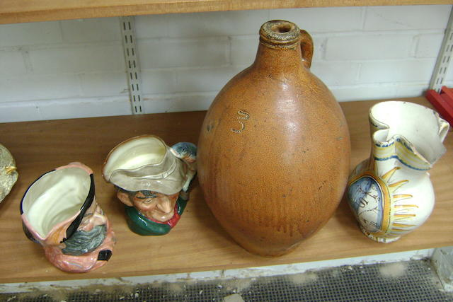 A 'tiger' ware brown stoneware flagon,