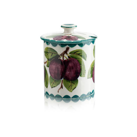A Wemyss preserve pot and cover 'Plums'