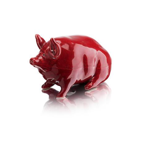 A small Wemyss pink glaze pig