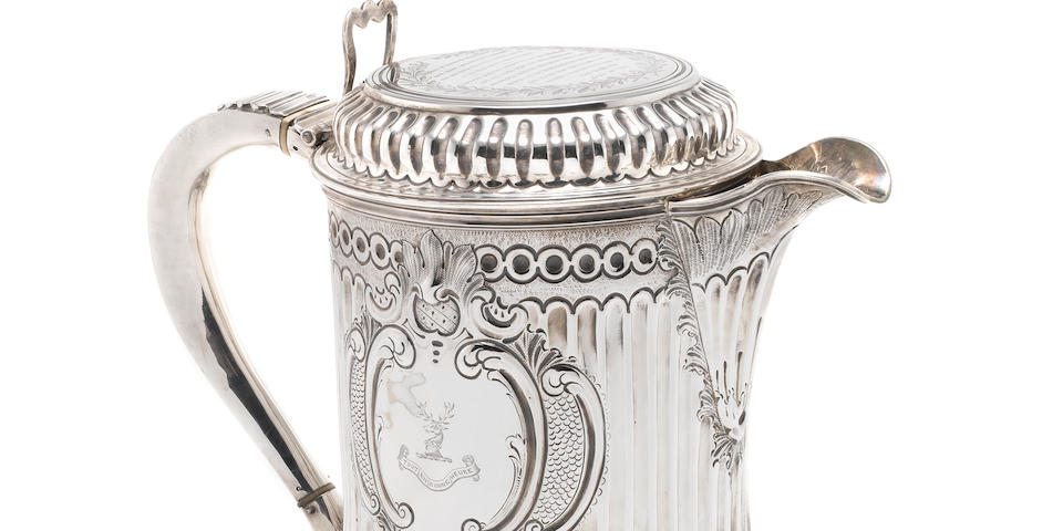 A Victorian silver oversize lidded jug by Thomas Smily, London 1864