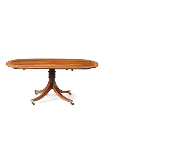 A George III rosewood and sycamore banded breakfast table