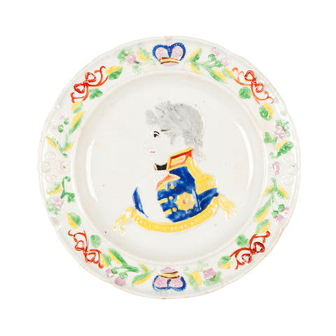 A Scottish pearlware commemorative plate for George IV Circa 1822, probably Portobello or Prestonpans