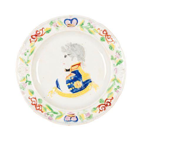 A Scottish pottery commemorative plate for George IV Circa 1822, possibly Portobello or Prestonpans