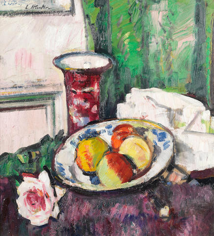 George Leslie Hunter (British, 1877-1931) Still life with apples and a pink vase 55.2 x 50.2 cm. (21 3/4 x 19 3/4 in.)
