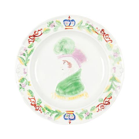 A Scottish pearlware commemorative plate for Queen Caroline Circa 1822, probably Portobello or Prestonpans