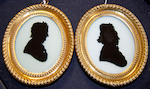 Richard Jorden (British, active circa 1779-1785) Two silhouettes of Ladies, both profile to the right, wearing caps dressed with ribbon