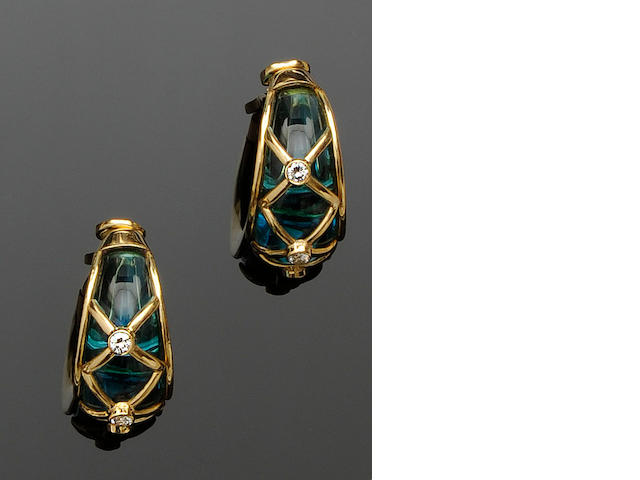 A pair of blue glass and diamond earrings, by Serkos