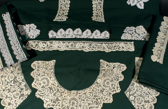 A collection of lace collars, edgings and collector's samples