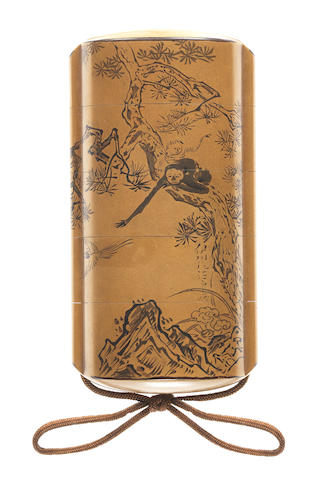 A gold lacquer four-case inro By Yamada Jokasai, after paintings by Kano Eishin and Kano Yoshin, 19th century