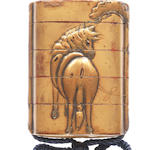 Two inro, one gold four-case with horse, one black four-case with ferryman