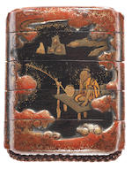 Two early lacquer four-case inro 17th century