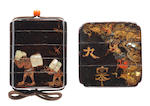 Two early black lacquer inro The second by Bunzan, both 17th century