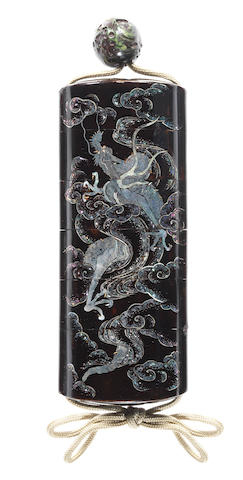 A Somada-inlaid black lacquer five-case inro 19th century