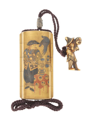 A gold lacquer four-case inro By Koma Kyuhaku, 19th century