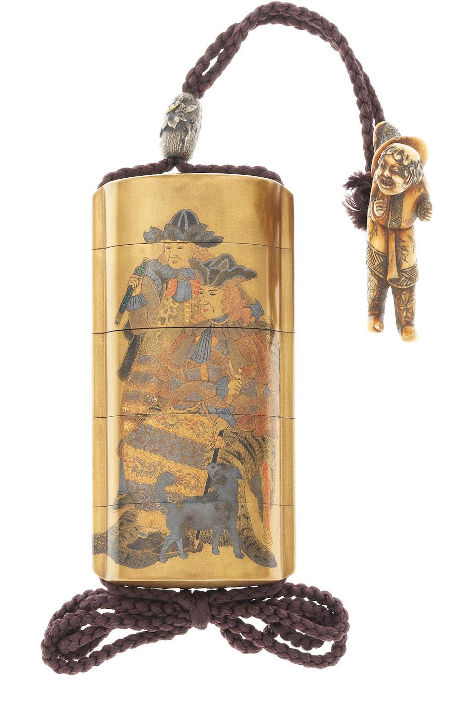 A gold lacquer four-case inro By Koma Kyuhaku, 19th century