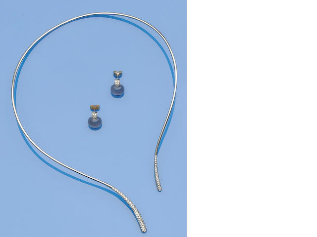 A diamond torque necklace and a pair of chalcedony and diamond earrings (2)