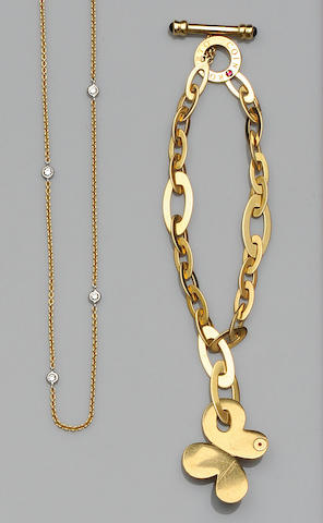 A diamond chain necklace and a gold bracelet (2)