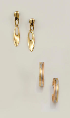 Georg Jensen: A pair of earpendants (2)