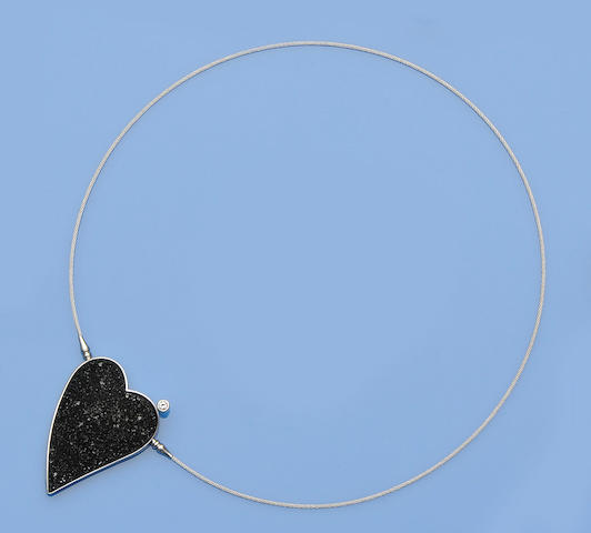 Mirjam Ginsburg: A diamond and black geode heart-shaped pendant