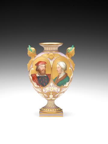 A Royal Worcester vase, dated 1867, with gilt head handles, painted by Thomas Bott with the Earl of Ormond and Anne Boleyn, on a textured gold ground, 21.8cm