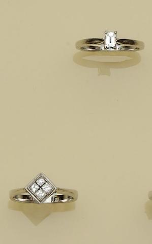 A diamond single stone ring and a diamond cluster ring (2)