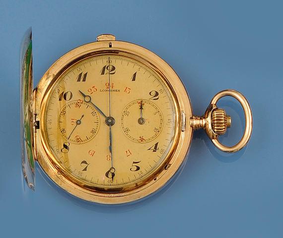 Longines: A hunter chronograph pocket watch