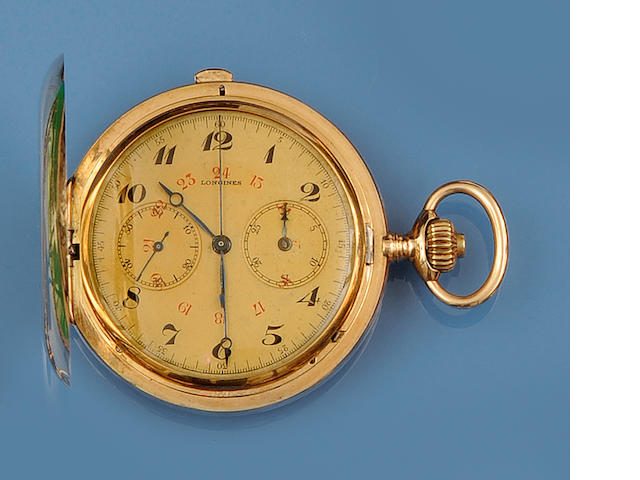 Longines: A hunter chronograph pocket watch